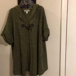 Dressbarn Olive Multi Color Hooded Cardigan